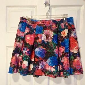 Express Watercolor Floral Miniskirt (Exp Zipper)